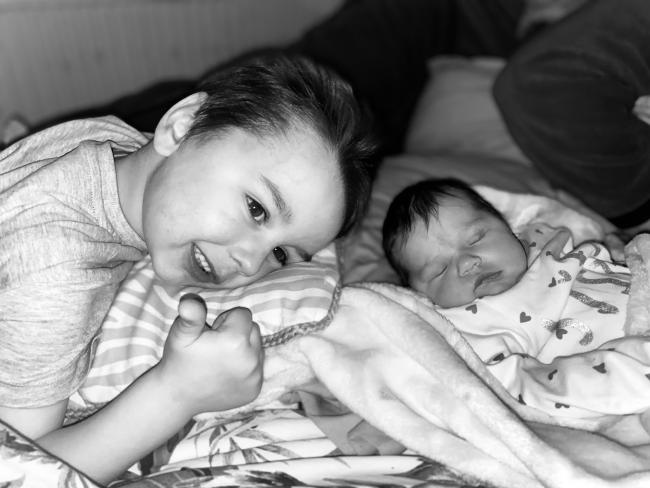 Lucas and Lyla Robinson, age four and three weeks, from Penketh:
