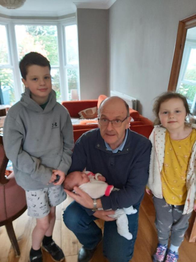 Grandad .Grandson Leo and Grandaughter Tilly with our new baby Grandaughter Niamh who was born 9th February .we all went to see her .now we cant wait for cuddles from them all . we live in Lymm .the photo was taken in Chester where Niamh lives with her parents.