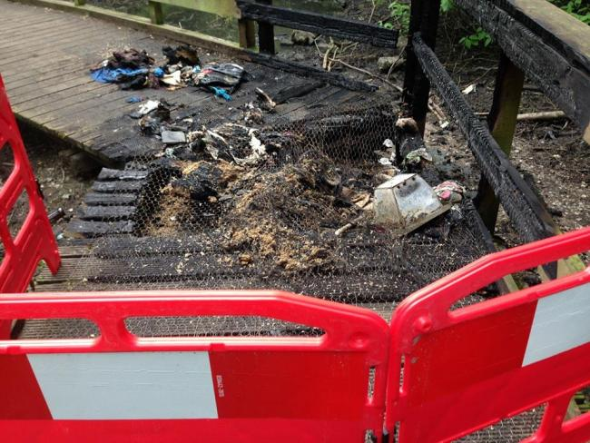 Damage caused by the latest arson attack in Peel Hall Park