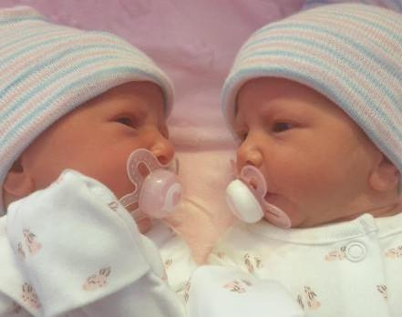 Mia and Evie Doherty, born May 29, weighing 5lb 8oz and 5lb 6oz from Padgate