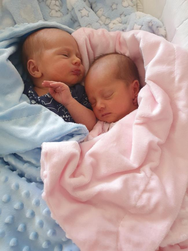 George Peter Neil Anthony and Rose Alexandra Mae Cogley, born May 28 weighing 6lb 8oz and 6lb 6oz from Great Sankey