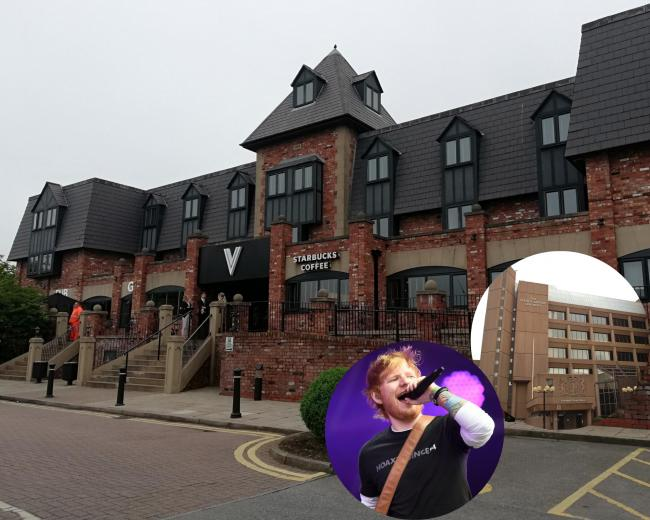 The Village Hotel and, inset, Ed Sheeran and Liverpool Crown Court