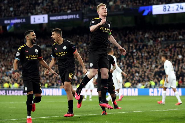 Kevin De Bruyne scored a late penalty as City won in Madrid