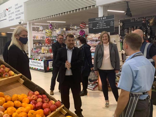 Tory MPs Andy Carter and Amanda Milling spoke to traders in the new market