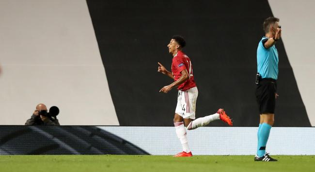 Jesse Lingard celebrates scoring against LASK at Old Trafford. Picture by Martin Rickett/PA Wire