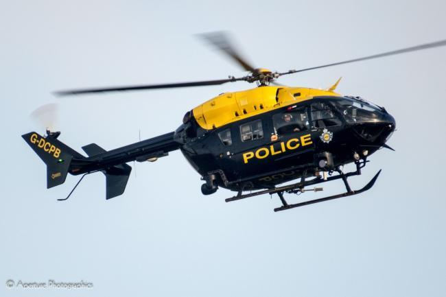 The police helicopter was called to Grammar School Road in Latchford last night, Sunday