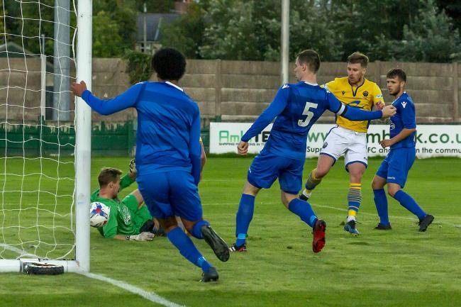 Jack Mackreth scores for Yellows at Irlam. Picture by John Hopkins