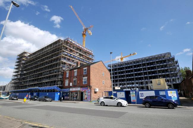 The apartments development at the junction of John Street and Winwick Street under construction