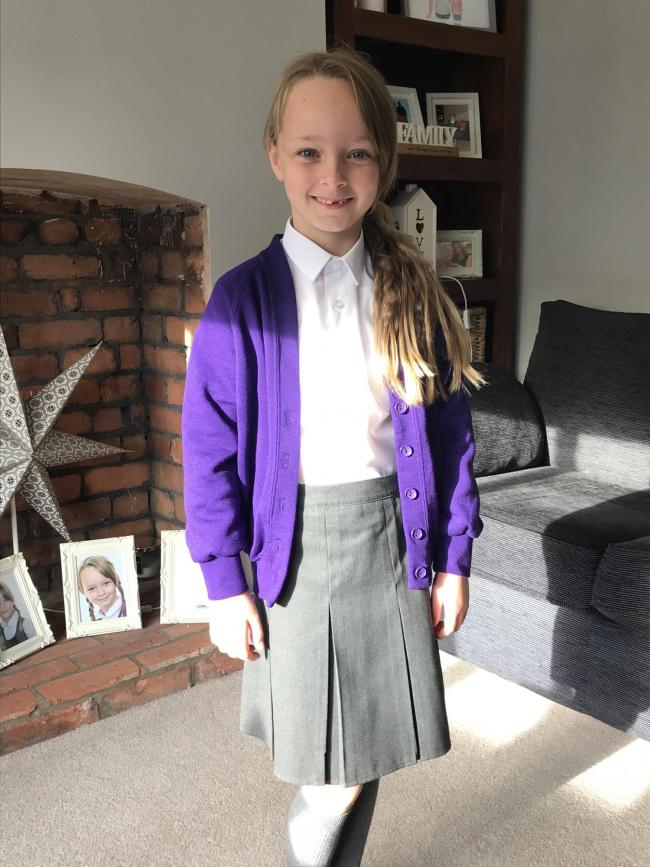 Phoebe Cowell on her first day of year three at Sankey Valley St James Primary School