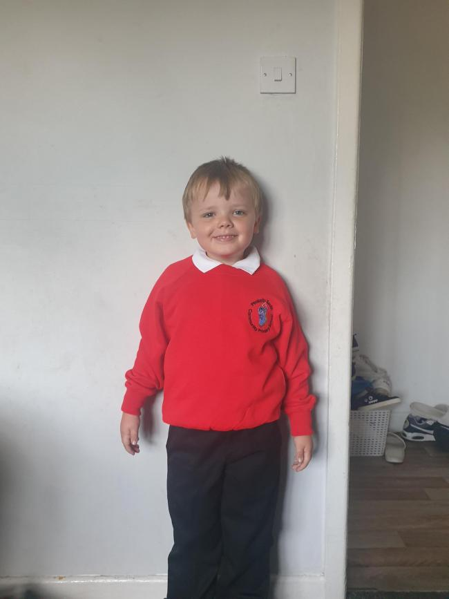 Blake Poulton on his first day at Penketh South Primary School