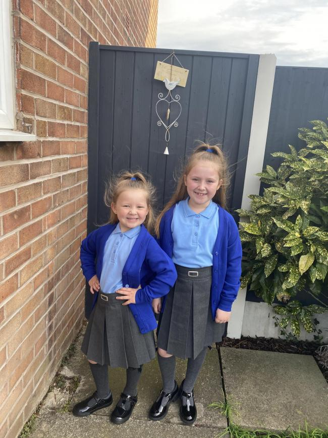 Lily and Daisy Brown going into years one and four at St Margaret's CE Primary School