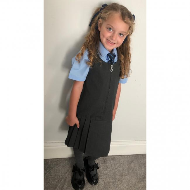 Sophia Grace Maughan on her first day in year one at St Elphin's Primary School