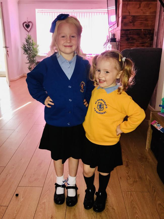 Dee Crockett-Gardiner starts year two and Aurora Lockhart starts preschool at St Margaret's Primary School