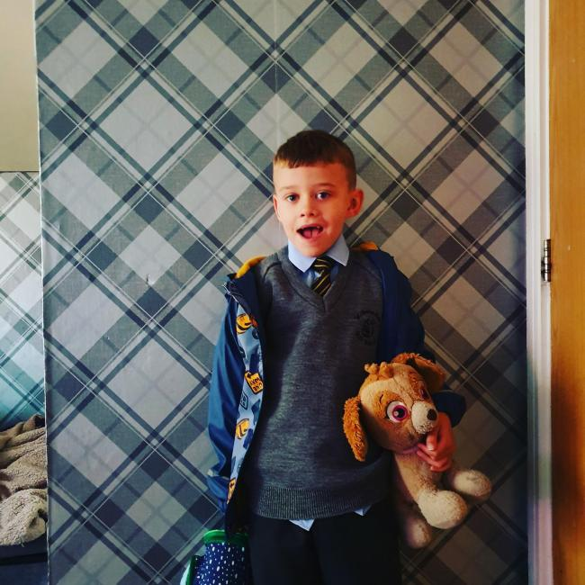 Harry Osborne ready for year two at St Benedict's Primary School