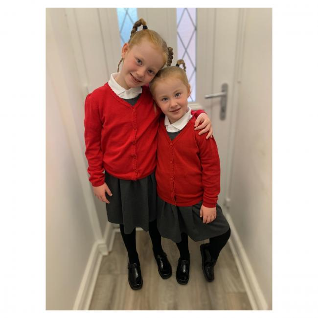 Holly and Charlotte Saunders in years four and one at Beamont Primary School