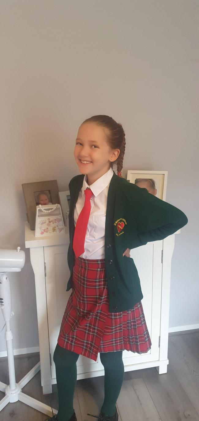 Emily Allan starting year six at St Bridget's Catholic Primary School