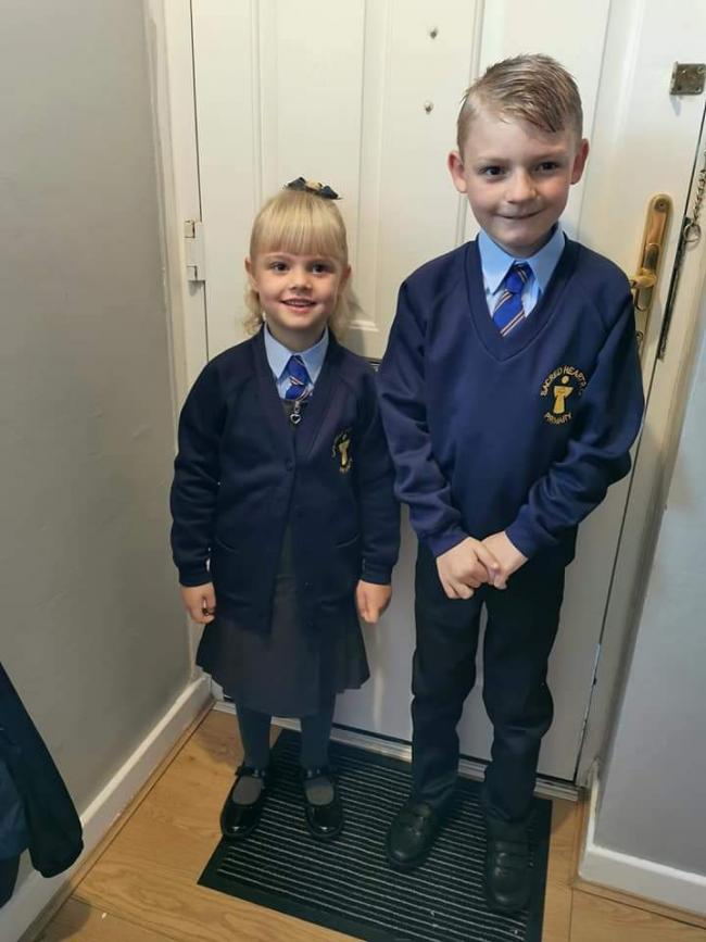 Ethan-James, year one, and Darcie-Rose Jackson, year four at Sacred Heart Catholic Primary School