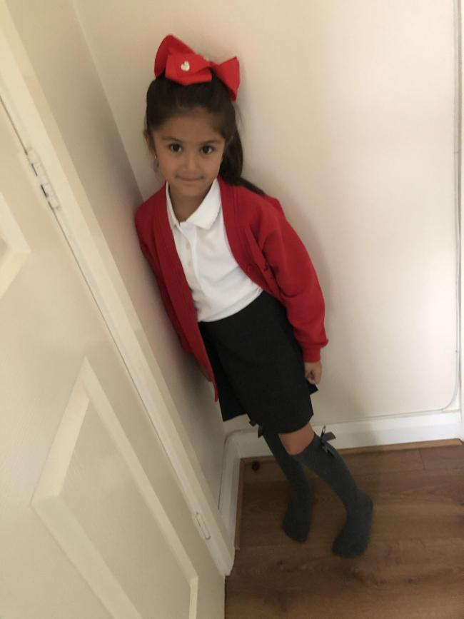 Amira Zirekoglu ready for year two at Brook Acre Community Primary School