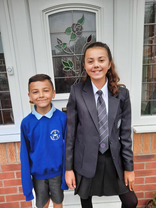 Maya Gleeson returned to Great Sankey High School in year eight, while William Gleeson started year five at Barrow Hall Primary School