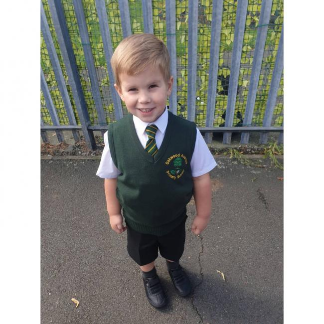 Thomas Fogg ready for Reception at Oakwood Avenue Primary School