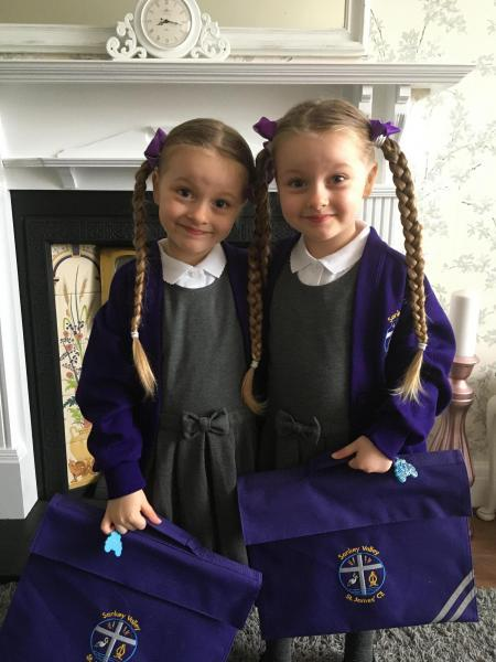 Carys and Charlotte Standing ready for reception at Sankey Valley St James CE Primary School