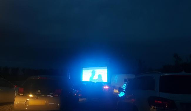 The drive-in cinema in Winwick towards the end of the screening of Mamma Mia! on Saturday