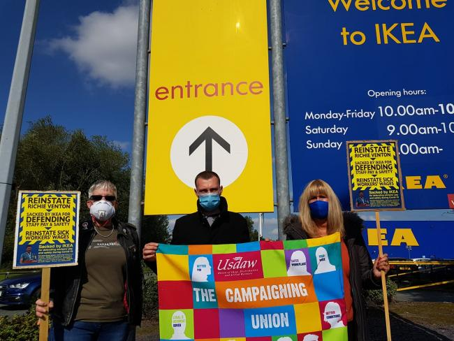Members of USDAW's executive council - Andrea Watts, Chris Winwood and national president Amy Murphy - at the protest at Ikea Warrington