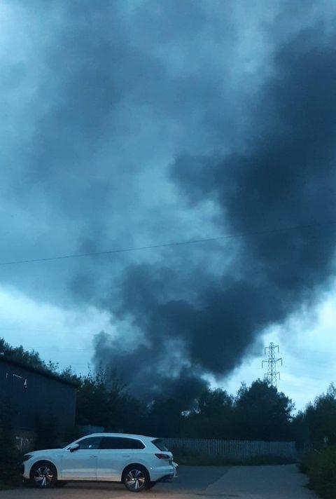 Smoke from the fire at Gatewarth Community Recycling Centre. Picture by Leigh Jones.