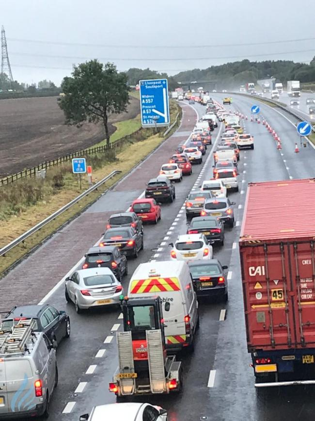 Traffic on the M62 this morning