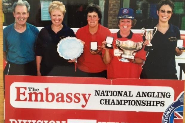 Peter Cummings, far left, with one of his highly successful ladies teams from Warrington Anglers Association
