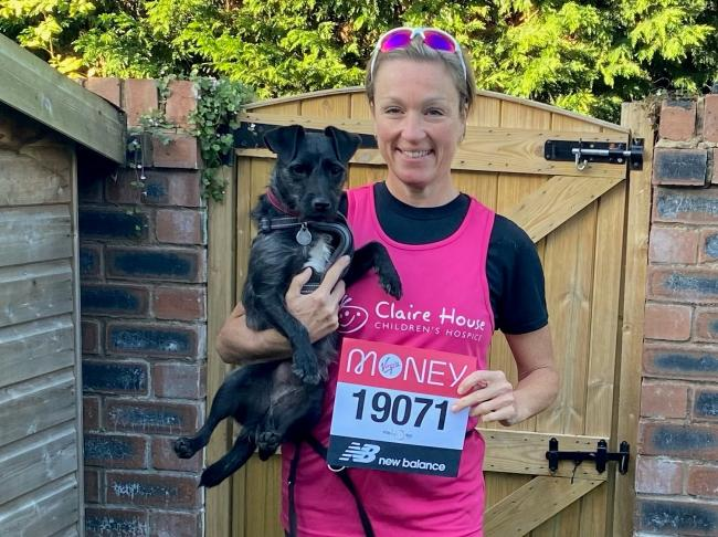 Helen Johnson and Peggy the dog, who is also taking part in the race