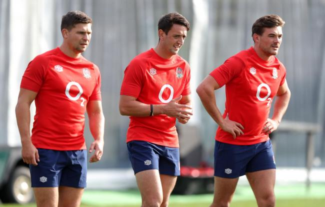 Alex Mitchell, centre, in training with the England team. Picture by PA Wire