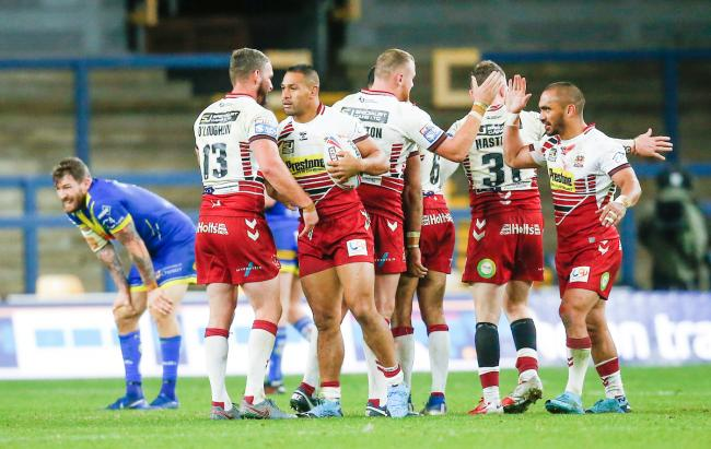 Warrington Wolves dejection against Wigan Warriors in Super League, Friday, October 9, 2020. Picture: SWpix.com