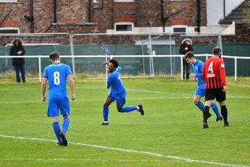 Kane Drummond celebrates scoring against Goole. Picture by Mark Percy