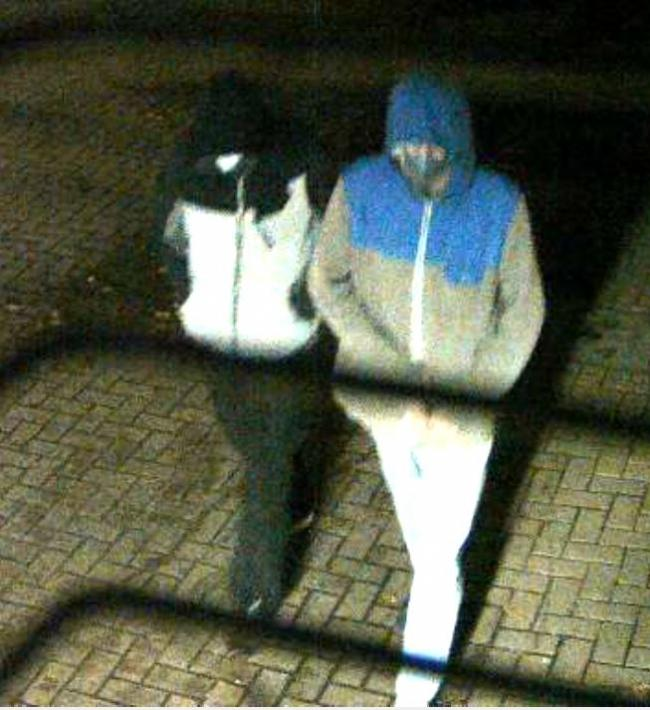 CCTV of two men wanted by police after a robbery at the McColl's on Admirals Road in Birchwood