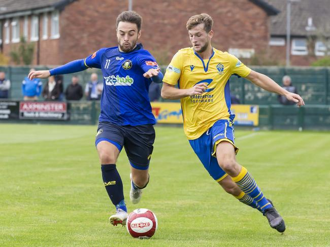 After tonight's game against FC United of Manchester, Warrington Town will see games suspended until after lockdown is lifted. Picture by John Hopkins