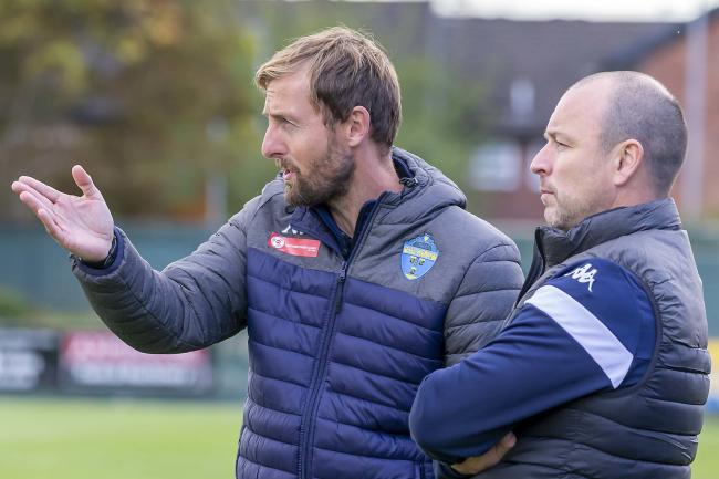 Warrington Town boss Paul Carden, right, with assistant Mark Beesley. Picture by John Hopkins