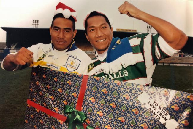 Salesi Finau and Mateaki Mafi, an early Christmas present for Warrington Wolves fans 25 years ago. Picture: Mike Boden