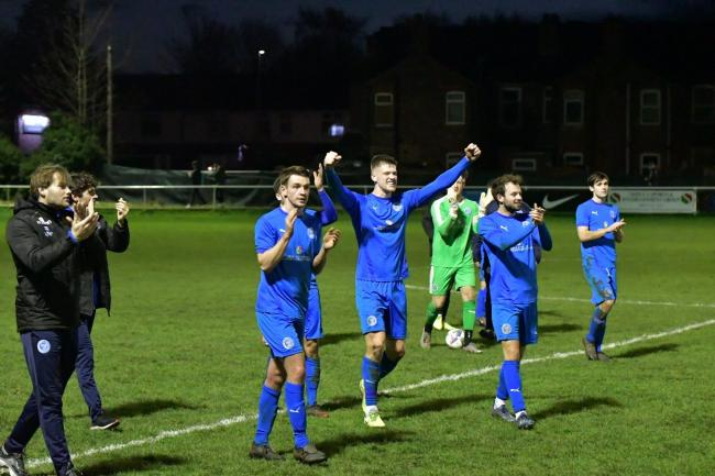The celebrations that followed Warrington Rylands' FA Vase victory over Longridge Town in December. Picture by Mark Percy