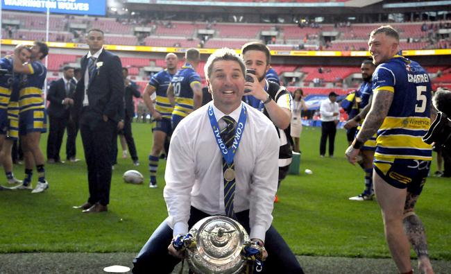 Steve Price prepares to lift the Challenge Cup in 2019. Picture by Mike Boden