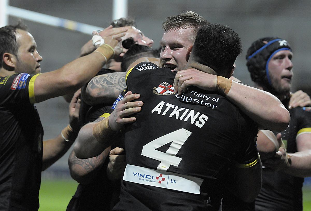 The aftermath of a memorable 33-22 win at Leeds Rhinos in 2018. Picture by Mike Boden