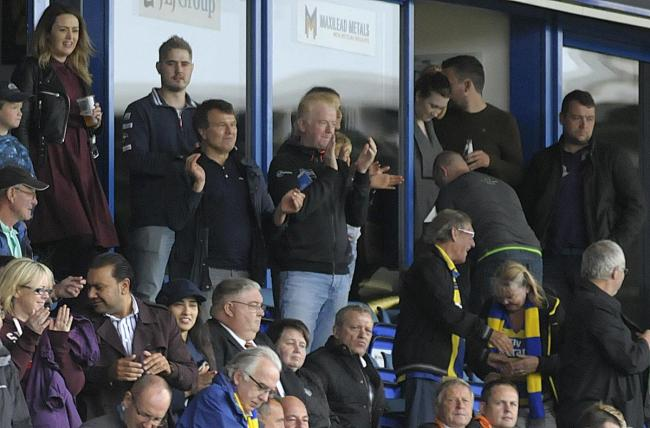 Chris Evans joins Warrington Wolves owner Simon Moran at The Halliwell Jones Stadium to see The Wire play in 2016. Picture: Mike Boden