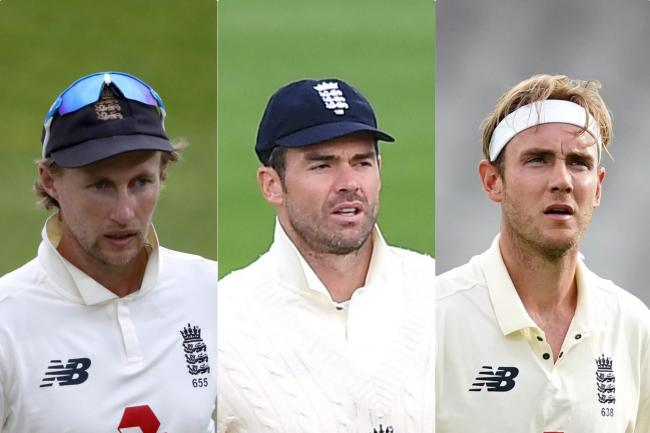 Joe Root (left) is considering whether to play James Anderson (centre) and Stuart Broad (right) together in the third Test in India
