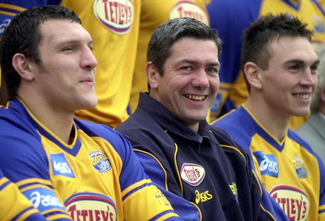 Daryl Powell in a happy place as Leeds Rhinos head coach at the start of 2003. He is sandwiched by international prop Barrie McDermott, left, and future Leeds captain Kevin Sinfield. Picture: SWpix.com