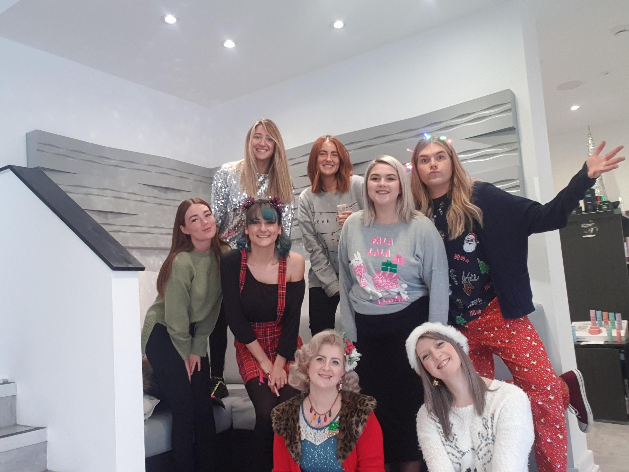 The Jakata team at Christmas before the salon closed
