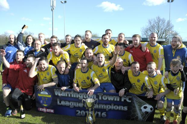 Warrington Town celebrate winning the Northern Premier League First Division North title on this day five years ago. Picture by Mike Boden