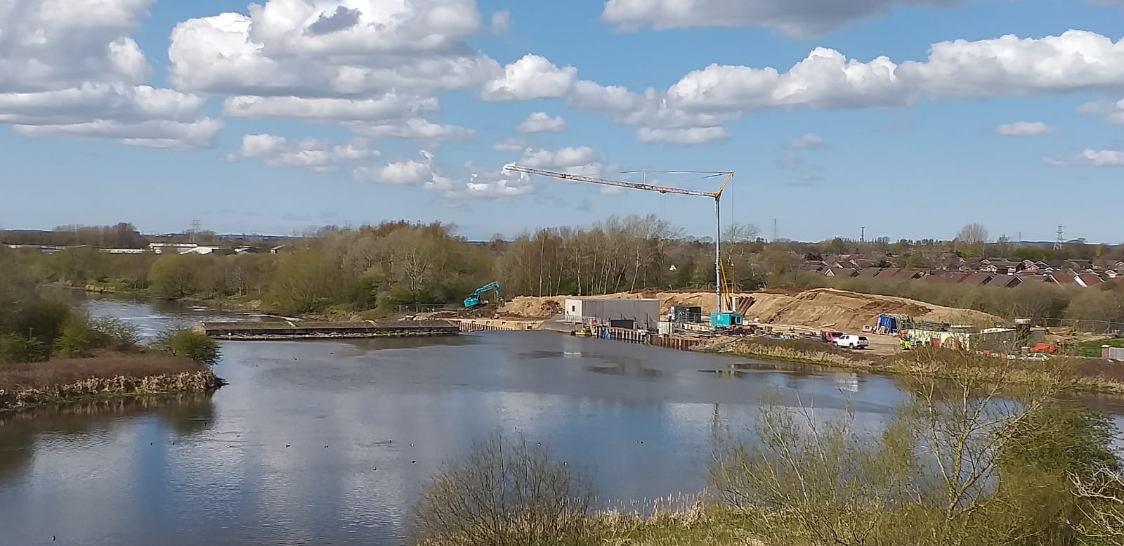 Pictures show construction work on hydropower scheme on Mersey progressing apace