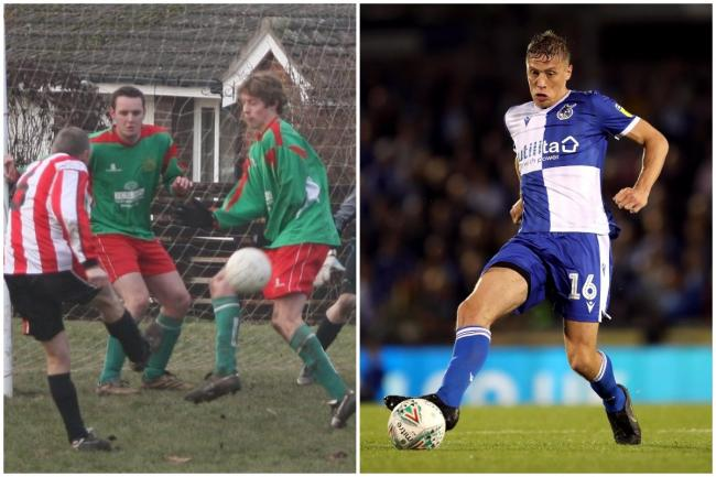From left, Tom Davies - on the right - blocks a shot while playing for Lymm AFC (Picture by Lymm AFC), in action for Bristol Rovers in 2019 (Picture by David Davies/PA Wire)