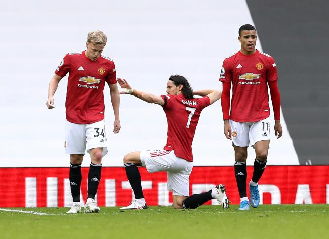 Manchester United celebrate a goal at the weekend. They are one of the big English six who want to break away into a European Super League. Picture: Martin Rickets/PAWire