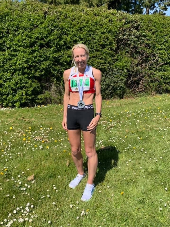 Louise Blizzard after completing the Cheshire Elite Marathon